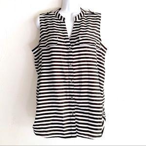 Calvin Klein BlackWhite Stripe Poly Sleeveless Top